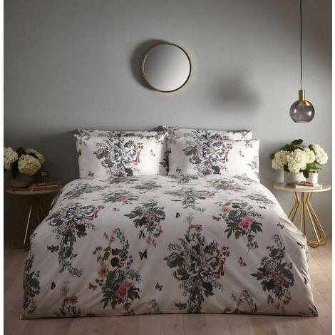 OASIS BOTANICAL BOUQUET Floral Design Ivory Duvet Cover Bedding Sets DOUBLE