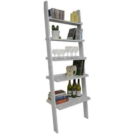 """main image of """"OATES - Ladder 5 Tier Wall Leaning Storage Shelves - Gloss White"""""""