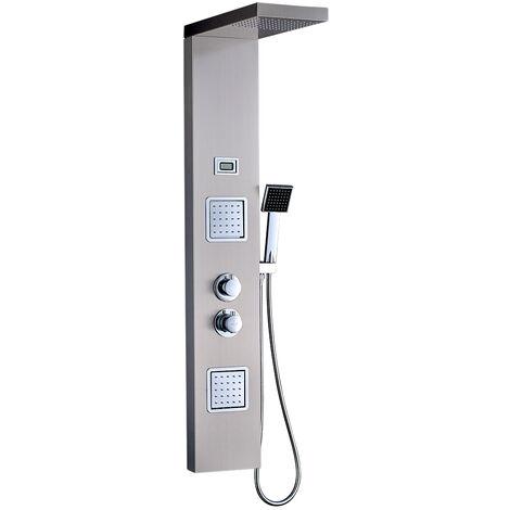 Obeeonr Duscharmaturen Set mit Thermostat, Regendusche Duschbrause Handbrause Duschpaneel Duschsystem aus Edelstahl SUS304 Duschset mit LED Wassertemperatur Dispaly