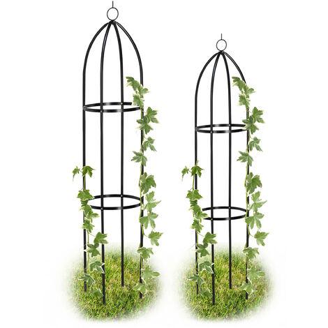 Obélisque de jardin, Colonne rosier, Arche plante grimpante, Set de 2 métal Cage rose H 139 et 149 cm, noir
