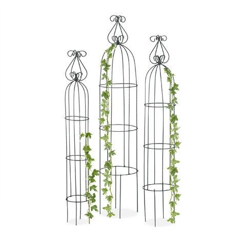 Obélisque de jardin, Colonne rosier, Arche plante grimpante, set de 3 métal Cage rose, Arceau, vert foncé