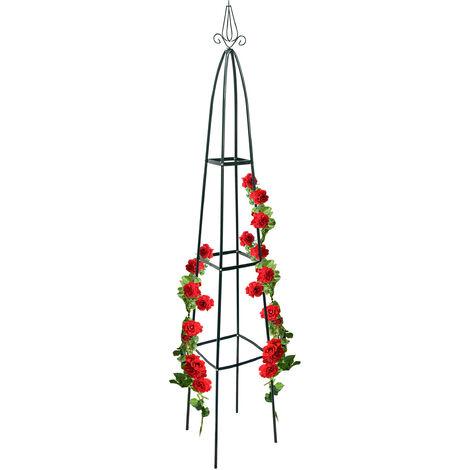 Obélisque de jardin pour roses 40 x 40 cm largeur au sol fleurs fruits support pour rosier pointu 2 m décoration en métal laqué stable tuteur pour plantes grimpantes, vert