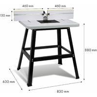 Oberfräsentisch Frästisch für Oberfräse und Tischfräse (810 x 610 mm Arbeitstisch, 880 mm Tischhöhe, 36 mm Tischdicke, 2x Anschlag, Absauganschluss, Universalaufnahme)