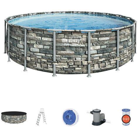Oberirdischer Pool 56886 Bestway Power Steel Rund Steineffekt 549x132cm