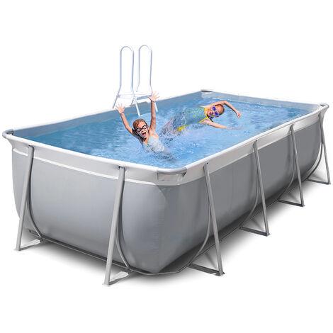 Oberirdischer rechteckiger Pool 460x265 H125 New Plast komplett grau-weiß FUTURA 460