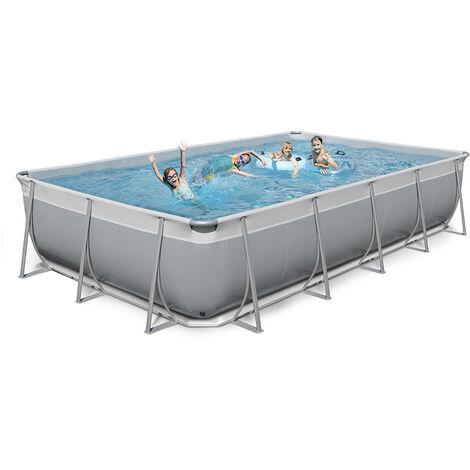 Oberirdischer rechteckiger Pool 520x265 H125 New Plast komplett grau weiß FUTURA 520