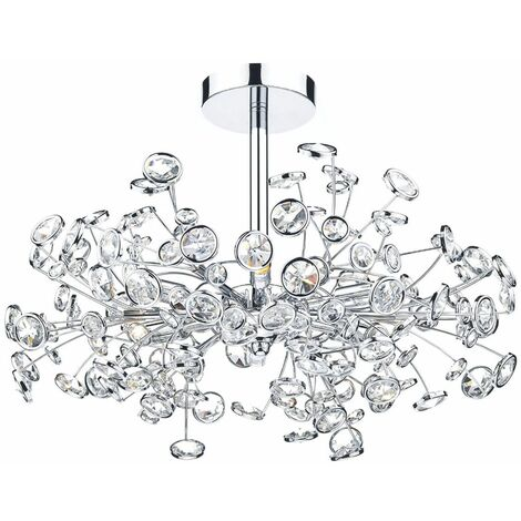 Oberoi crystal and polished chrome 6-light ceiling light