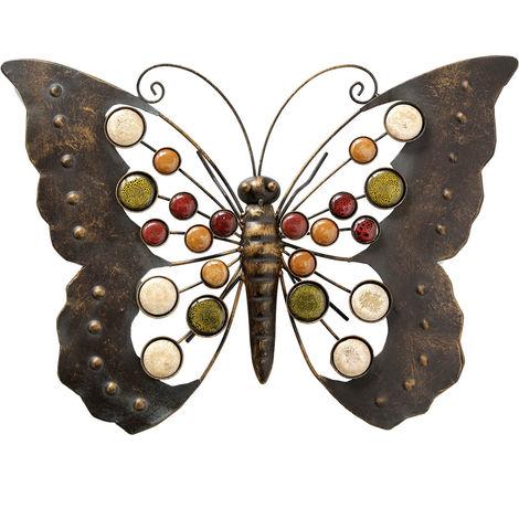 Objet mural en métal en forme de papillon, L 43 cm