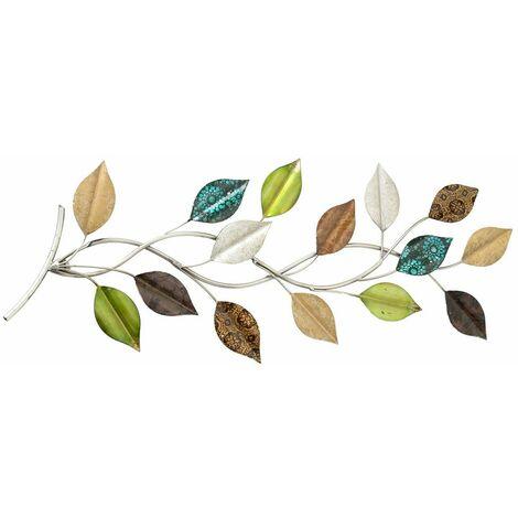Objeto de pared decoración artística salón cortina rama rama hojas multicolores Boltze 3847400