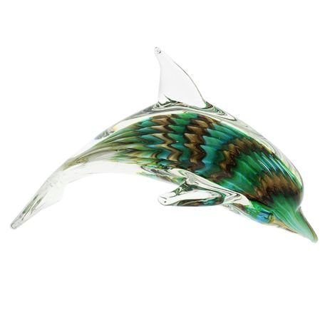 Objets d'Art Dolphin Green Glass Ornament Figurine