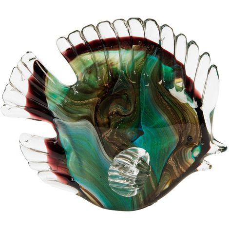 Objets d'art Glass Figurine - Green Fish
