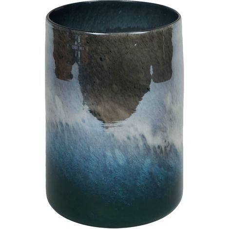 Objets d'Art Glass Vase Blue Marble Effect 25cm