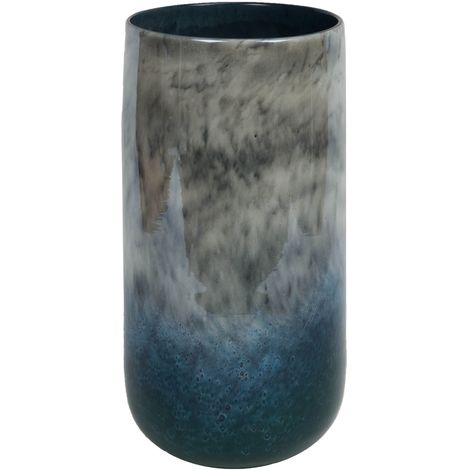 Objets d'Art Glass Vase Blue Marble Effect 35cm