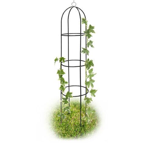 Obléisque tuteur plantes grimpantes rosiers arcade pour roses arceau jardin arche de jardin métal 190cm, vert