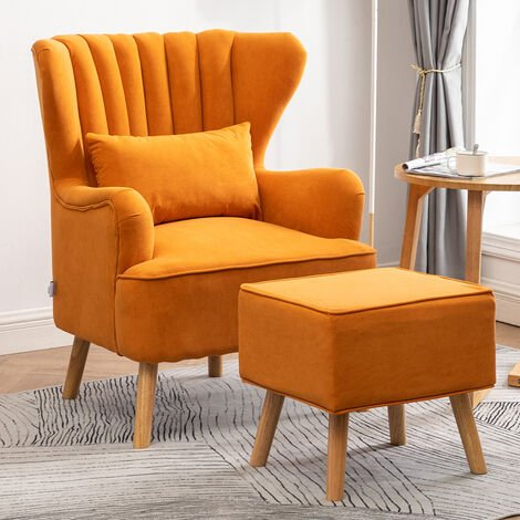 Occasion Frosted Velvet Wingback Armchair and Footstool