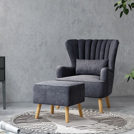 """main image of """"Occasion Suede Wingback Armchair And Footstool, Dark Grey"""""""