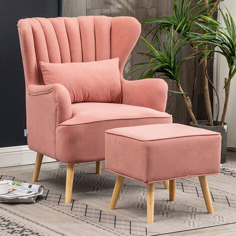 Occasion Suede Wingback Armchair and Footstool, Pink