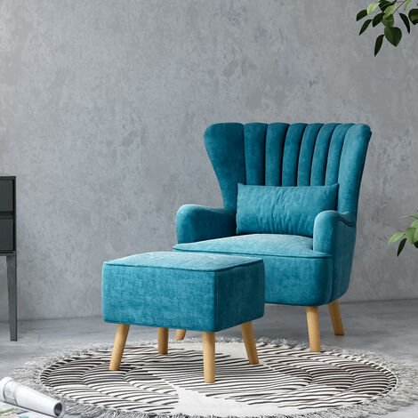 Occasion Suede Wingback Armchair And Footstool, Teal Blue