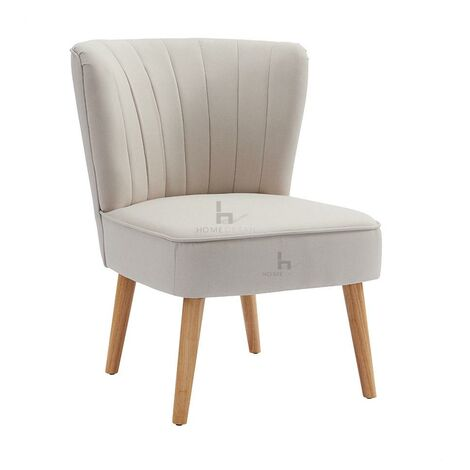 """main image of """"Occasional Chair Velvet Fabric Fluted Accent Chair Wood Frame, Fabric- Beige"""""""