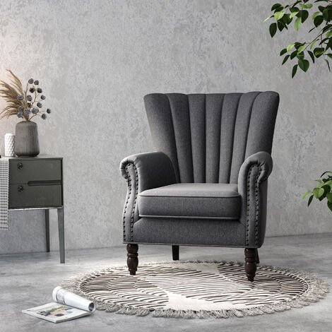 Occasional Dark Grey Wing Back Fabric Armchair Fireside Accent Armchair Sofa Bedroom