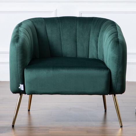 Occasional Scalloped Velvet Armchair Sofa