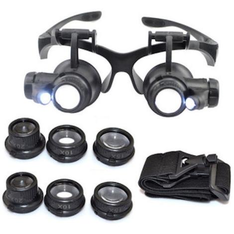 10X 20X //25X 4 Lenti Occhiali Con Lente Dingrandimento Per Riparazioni Con Luci a LED Binocolo 9892G 15X