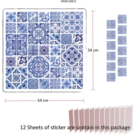 Ocean Blue tiles - pack of 12 pcs.