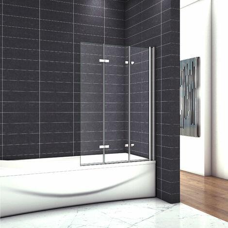 OCEAN Pare-baignoire 130x140cm écran de baignoire 6mm verre anticalcaire