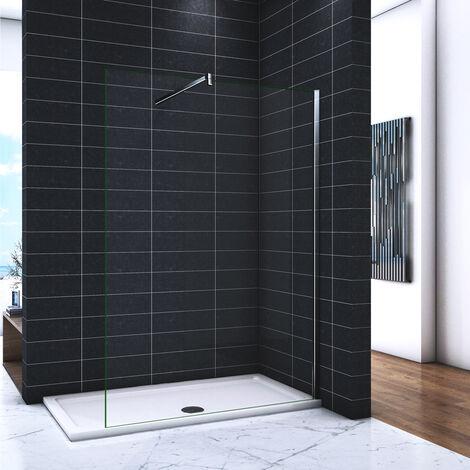 OCEAN Paroi de douche 100x200cm en 8mm verre avec vitrification nano(anticalcaire) livré avec une barre carrée 140cm