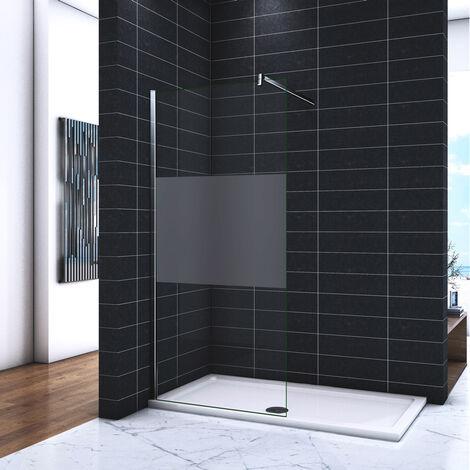 OCEAN Paroi de douche 90/100/110/120/140x200cm en verre sablé au centre et anticalcaire avec une barre carrée 140cm