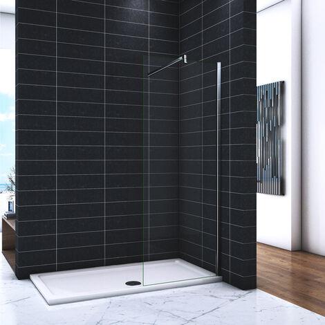 OCEAN Paroi de douche 90x200cm en 8mm verre avec vitrification nano(anticalcaire) livré avec une barre carrée 140cm