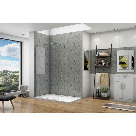 Océan paroi de douche à l'italienne en 8mm verre anticalcaire avec une barre de stabilisation 140cm