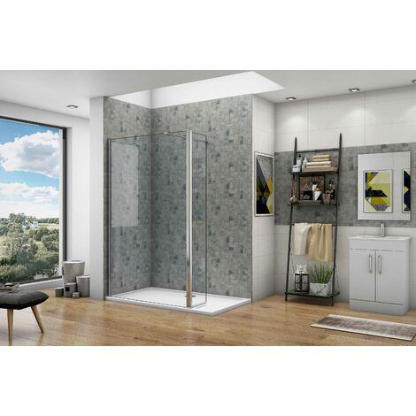 Océan paroi de douche pivotant 200cm en 8mm verre anticalcaire paroi latérale à l'italienne avec une barre de fixation 90cm