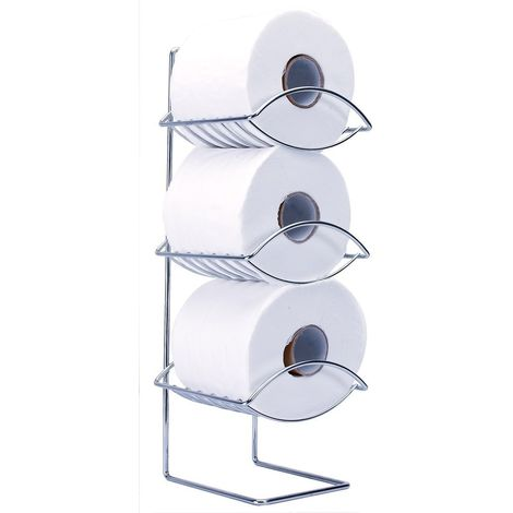 Oceana 3 Tier Chrome Bathroom Toilet Paper Roll Holder Free Standing - Stainless-Steel