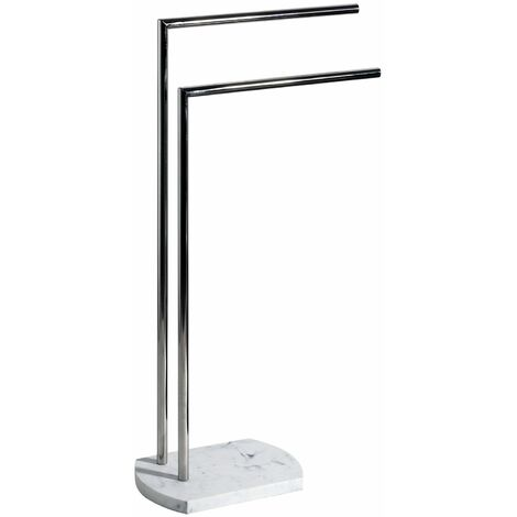 """main image of """"Octavia Freestanding Double Towel Rail, White Marble, Chome"""""""