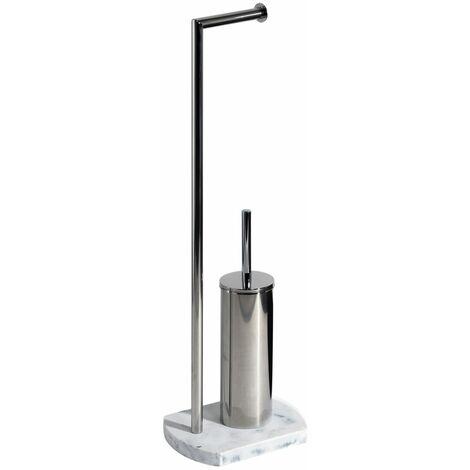 Octavia Freestanding Toilet Roll Holder & Brush Combo, White Marble, Chrome