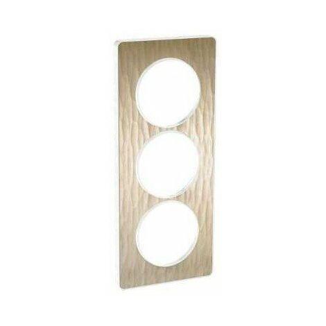 Odace Touch, plaque Bois naturel avec liseré Blanc 2 postes verticaux 57mm (S520814N)