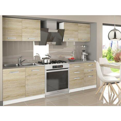 ODETTA   Cuisine Complète Modulaire Linéaire L 160 cm 6 pcs   Plan de travail INCLUS   Ensemble armoires meubles cuisine   Sonoma