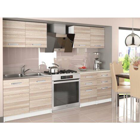ODETTA   Cuisine Complète Modulaire Linéaire L 160cm 6 pcs   Plan de travail INCLUS   Ensemble armoires meubles cuisine   Acacia