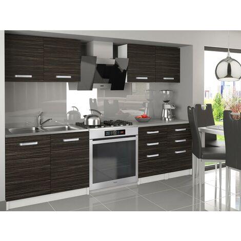 ODETTA | Cuisine Complète Modulaire Linéaire L160 cm 6 pcs | Plan de travail INCLUS | Ensemble armoires meubles cuisine | Ébène - Ébène