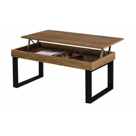 ODIN- Mesa de centro elevable madera maciza natural y patas Metalicas