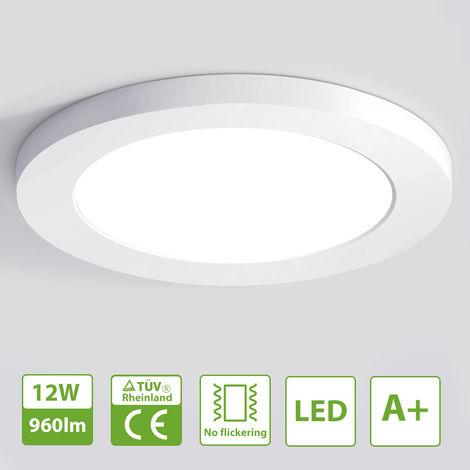 Oeegoo 12W Lámpara de techo LED redonda, lámpara de techo empotrada ultrafina de Φ16 x 1.3 cm, luz LED de 960LM, iluminación interior para dormitorio, pasillo, cocina, luz blanca natural 4000K