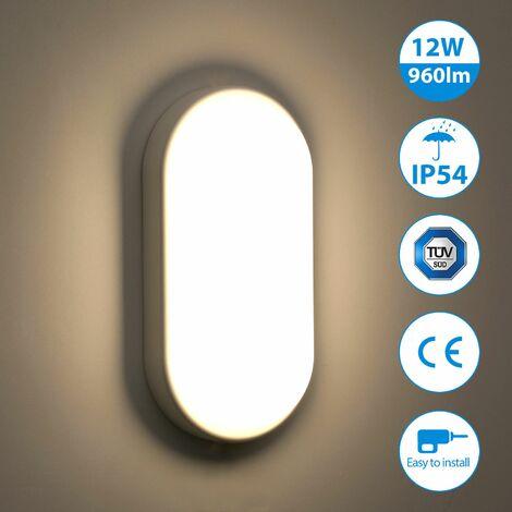 Oeegoo 12W Plafonnier LED, 960LM éclairage IP54 Etanche, Lampe de Cloison, Applique Murale, Luminaire LED Plafond, Blanc Naturel 4000K, Parfait pour Sous-sol, Cave, Couloir, Escalier - Blanc
