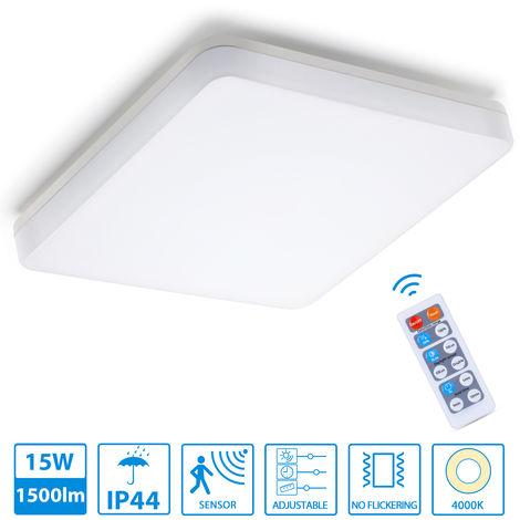 Oeegoo 15W Lámpara de Techo LED detector de movimiento, 1500LM Luz de techo con control remoto, IP44 a prueba de agua, Lámpara de pared cuadrada con iluminación para balcón, baño, sótano, blanco neutro 4000K