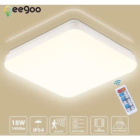 Oeegoo 18W Plafonnier avec Détecteur Induction Micro-onde, Eclairage LED 1400 LM, IP54 Étanche Plafonnier Carré 28CM, Lampe de Plafond, Luminaire LED pour Garage, Chambre, Couloir, 4000K Blanc Neutre - Blanc