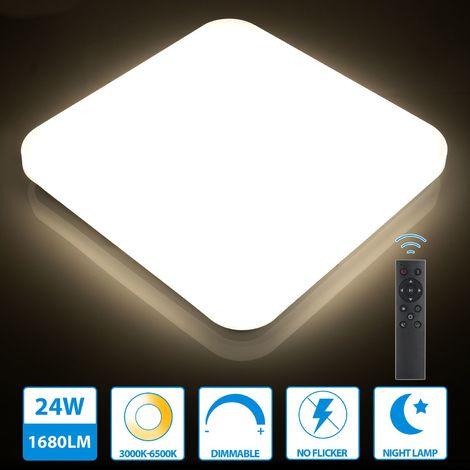 Oeegoo 24W Plafonnier LED Dimmable avec Télécommande, 1680LM, Eclairage Réglable 3000-6500k, Plafonnier Carré IP44 étanche, Lampe de Plafond pour Chambre, Salon, Cuisine, Séjour, Salle à manger