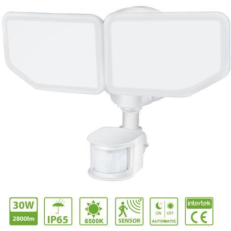 Oeegoo 30W Foco LED Exterior con Detector de movimiento, luz de inundación LED para exteriores, iluminación de seguridad 2800LM con focos ajustables, Proyector LED blanca impermeable IP65 para garaje, jardín, patio, luz blanca fría 6500K