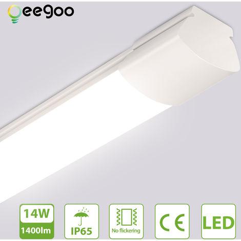 Oeegoo 60CM Tira de luz LED, 14 W 1400LM Lámpara regleta tubo LED, luz de techo a prueba de agua IP65,luz blanca neutra de 4000 K, luz de pared Cocina, baño, sótano, bodega, oficina