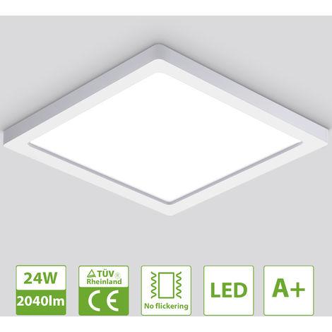 Oeegoo Lámpara de techo LED ultrafina de 13 mm, 24W 2040 LM lámpara de techo empotrada, luz de techo cuadrada de 29 cm, lámpara de luz LED para dormitorio, cocina, pasillo, sala de estar, blanco neutro 4000K