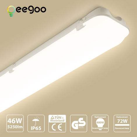 Oeegoo LED Batten Ceiling Lights 4ft 120CM, LED Tube Light, 46W IP66 Waterproof LED Lights Fitting Daylight White 4000K 5250LM Ceiling Lamp for Garage Underground Store Bathroom Storage Workshop